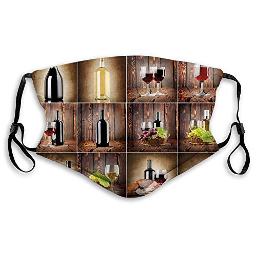 Preisvergleich Produktbild 125 Windproof Activated Carbon, Wine Collage with Barrel Bottle Wineglass Grape Gourmet Taste Beverage, Facial Decorations for Adults