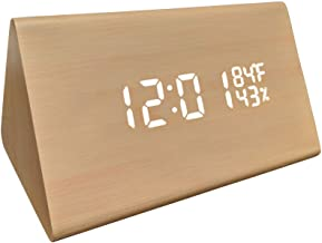 GB HOME COLLECTION LED Faux Wood Digital Alarm Clock, Portable LED Desk Clock with USB Charger, Displays Time & Temperature, Adjustable Brightness, 3 Alarms and Optional Sound Activated Display