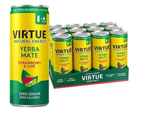 VIRTUE Yerba Mate - Natural Energy Drink - Zero Sugar, Zero Calories (Strawberry & Lime, 12 Pack)