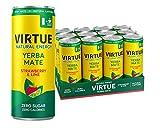 VIRTUE Yerba Mate - Natural Energy Drink - Zero Sugar, Zero Calories (Strawberry & Lime, 12 Pack)