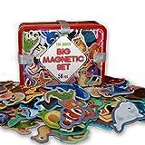 MAGDUM 56 Set Animales en Caja de Lata de Regalo-imanes de bebé Realistas-56 Grandes Juguetes magnéticos Mundo Animal para 3 años-Juegos Educativo Aprender magnético para niños-Teatro Magnético