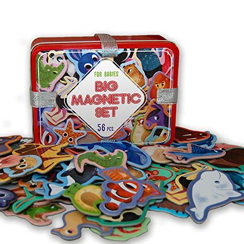 MAGDUM 56 Set Animali in Regalo Scatola di Latta- realistici Calamite Frigo Bambini- 56 Grandi Magnetico Giochi 3 Anni-Giocattoli Educativi per Bambini-insegnare agli Animali-Teatro Magnetico