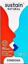 Sustain Natural Latex Extra Large (XL) Condoms - FDA Cleared - Nitrosamine Free - Non GMO - Fair Trade - 10 Count