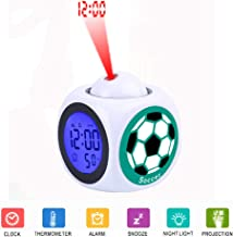 JLHEB Projection White Alarm Clock Digital LCD Display Voice Talking Table Clocks Temperature Snooze Function Desk Soccer Sports Green Sport