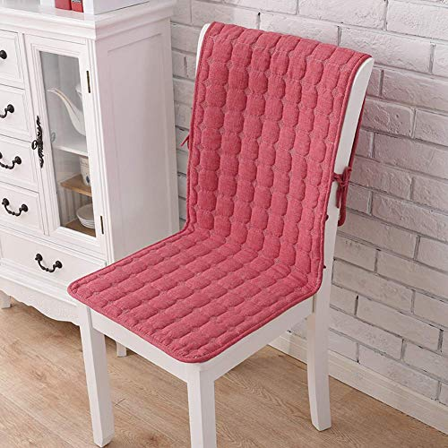 WJX&Likerr With pocket One-piece Chair cushion, Cotton Four seasons Seat cushion Set Non-slip Chair With straps Dining Chair cushion-Red A 50x140cm