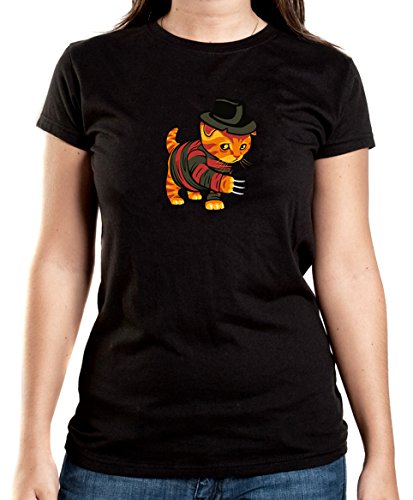 Certified Freak Evil Cat T-Shirt Girls Black M