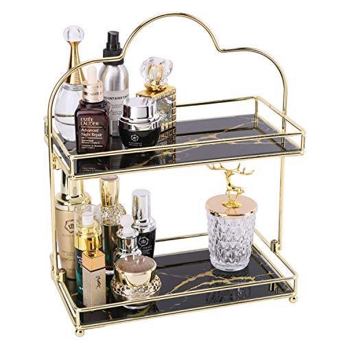 Simmer Stone Make-up-Organizer-Regal, 2-stöckiger Kosmetik-Aufbewahrungskorb mit herausnehmbarem Glas-Tablett, Draht-Organizer für Badezimmer, Arbeitsplatte, Kommode und mehr