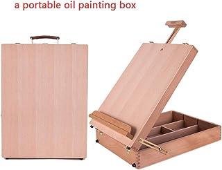 Board Caballete De Pintura De Mesa Profesional Maletín Madera Haya Compartimentos Asa para Llevar Lienzos