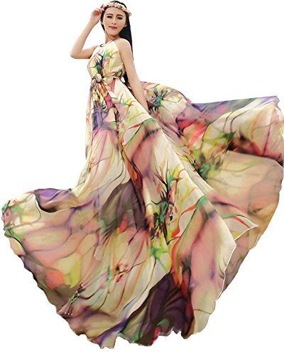 MedeShe Women's Chiffon Floral Holiday Beach Bridesmaid Maxi Dress Sundress (X-Large,Tropical Color)