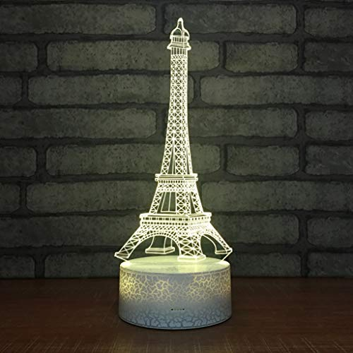 Veilleuses Tour 3D Créative, Alimenté par USB 7 Changement De Couleur Tactile/Télécommande Commutateur Économie D'énergie Table De Chevet Lampe De Bureau Décoration Lumière Cadeau