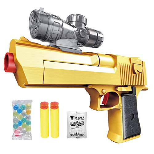 [Toy gun] includes: 1 pistol + 2 rubber bullets + 10,500 crystal bullets (random color). [Pistol Toys]: Our toy pistols are designed for children and are based on safety. The rubber bullets are fired within 2 meters and are harmless. Crystal Bullets ...