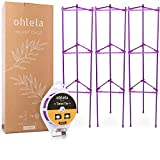 Tomato Cages for Garden Plant Support – 4ft 3-Pack, Multifunctional Purple Stakes for Vine, Vegetables, Fruits & Flowers with Adjustable Stake Arms - Sun-Protection, Non-Rusting, with 328ft Twist Tie