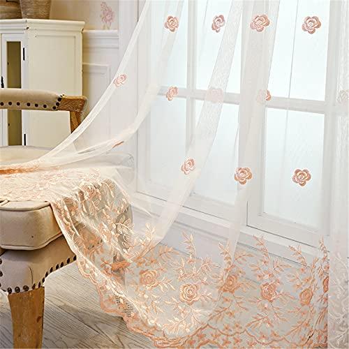 FACWAWF Pantalla De Ventana Bordada con Rosa Simple Y Transpirable, Adecuada para Sala De Estar, Dormitorio, Balcón, Habitación para Niños, Cortinas Semi Opacas 2x98x106in(250x270cm) WxH