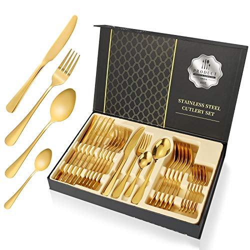 Esyhomi Besteckset aus Edelstahl 24-teilig für Haus Küche Restaurant Besteck Set mit Geschenkbox für 6 Personen, Messer Kuchengabel Löffel Teelöffel Inklusive (Golden, 24-teilig)