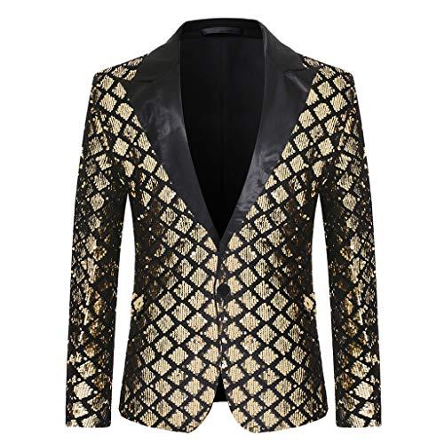 MERICAL Uomo Blazer Classic Maniche Lunghe Colletto Cappotto Brillantini con Paillettes Glitterati Giacca da Abito Elegante Fiesta (Oro,Large)