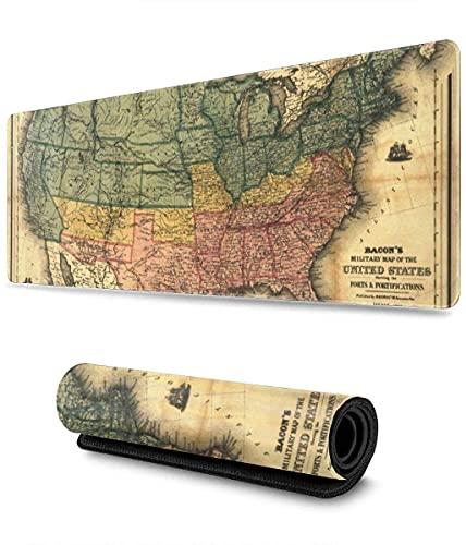 Mapa De Estados Unidos Vintage Alfombrilla De Ratón para Juegos XXL Alfombrilla De Ratón Grande Extendida Alfombrilla De Goma Antideslizante Larga Alfombrilla De Ratón 900 × 400 mm