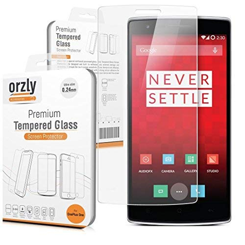 Orzly® - OnePlus ONE Premium Tempered Glass 0.24mm Protective Screen Protector for the Original Premier Launch Model of SmartPhone called ONE by ONE PLUS (Alias: New 2014 Release Version / First Ev