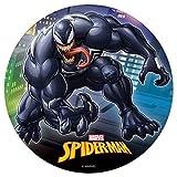Oblea Comestible para Decorar Tarta de Cumpleaños Infantil - Diseño Spiderman Marvel - Personaje Venom - Multicolor, Disco Redondo 20 cm