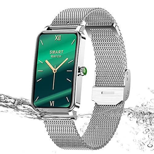 Yocuby - Smartwatch da donna, 1,5', con batteria di 15 giorni, impermeabile IP68, strumento per periferiche femminili, notifica SMS, cardiofrequenzimetro, monitoraggio del sonno, Android iOS (argento)