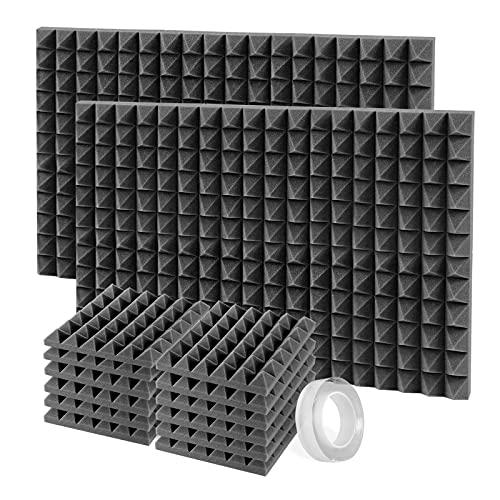 SLequipo Pannelli Fonoassorbenti, 12 Pezzi Pannelli Fonoisolanti 30 X 30 X 5 cm con Adesivo per Insonorizzazione Stanza Correzione Acustica (Nero)