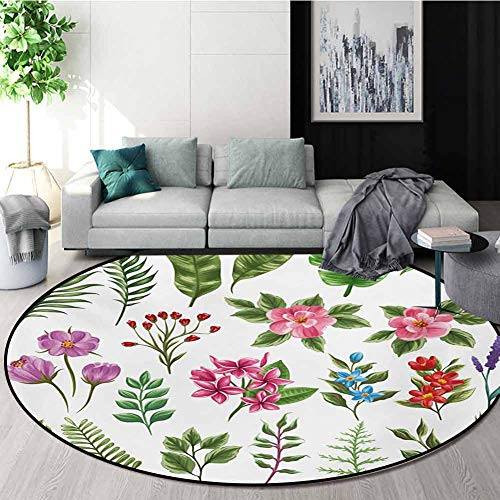 Fantastic Deal! RUGSMAT Plant Modern Washable Round Bath Mat,Exotic Flowers and Ferns Botanical Elem...