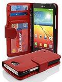 Cadorabo Custodia Libro per LG L70 in Rosso Cremisi - con 3 Vani di Carte e Chiusura Magnetica - Portafoglio Cover Case Wallet Book Etui Protezione