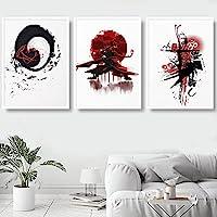 キャンバスにプリント日本の浮世絵HDプリントアートポスター壁画リビングルームの侍家の装飾壁画クアドロス50x70cmx3フレームレス