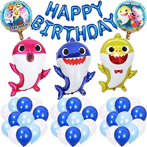 Shark Party Supplies Set, Shark Baby Thema Geburtstagsfeier Dekorationen,Geburtstag Deko für Jungen und Mädchen for Birthday Baby Shower Wedding Graduation Party Decoration (Set of 42