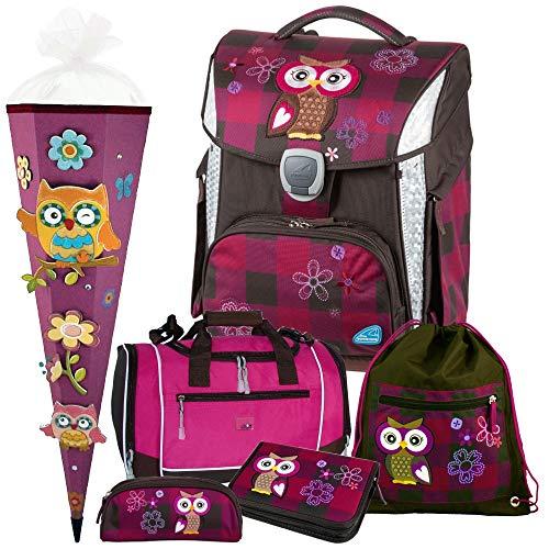 Olivia The OWL - Eule - Schneiders LED-TOOLBAG Plus mit LED-LEUCHTSYSTEM Schulranzen-Set 6tlg mit Sporttasche und SCHULTÜTE - 78326-051
