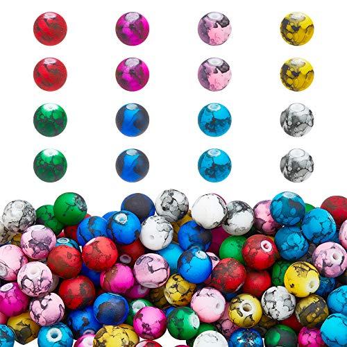 PandaHall Cuentas de vidrio pintadas para hornear, 8 mm, 300 piezas de 10 colores para hacer joyas para adultos, collares, pulseras, pendientes, hacer