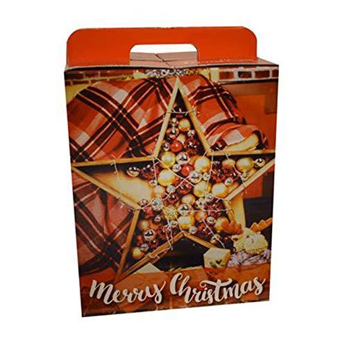 Natale Scatola Box panettone cesta Natalizia pandoro Bottiglie Manico Cartone 40x21x28 cm