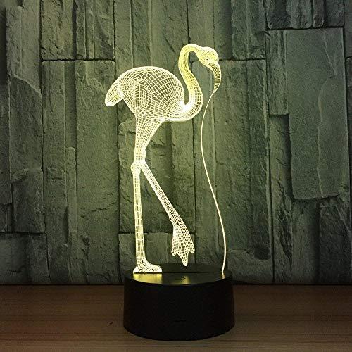 Novedad Flamencos Forma 3D Ilusión Luz de noche 7 colores que cambian Lámpara de mesa de animales LED Decoración del hogar para niños Juguete de regalo