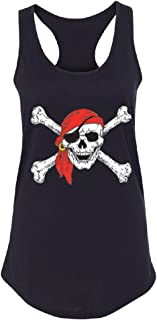 Jolly Roger Skull & Crossbones Women's Racerback Pirate Flag Day of Dead Shirt