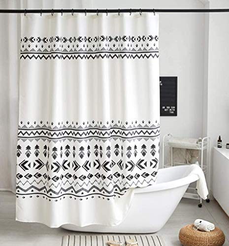 Uphome Boho Shower Curtain Black and White Fabric Geometric Tribal Shower Curtain Set with Hooks Modern Ethnic Bohemian Bathroom Curtain Decor,Heavy Duty Waterproof, 72x72