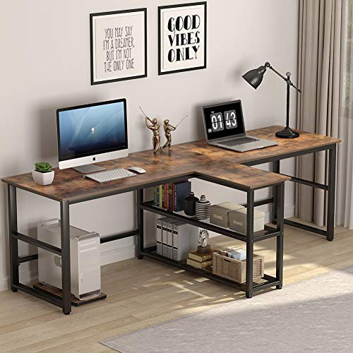 Tribesigns 94.5 inch Computer Desk, Extra Long Two Person Desk with Storage Shelves, Double Workstation Office Desk Study Writing Desk for Home Office (Rustic Brown)