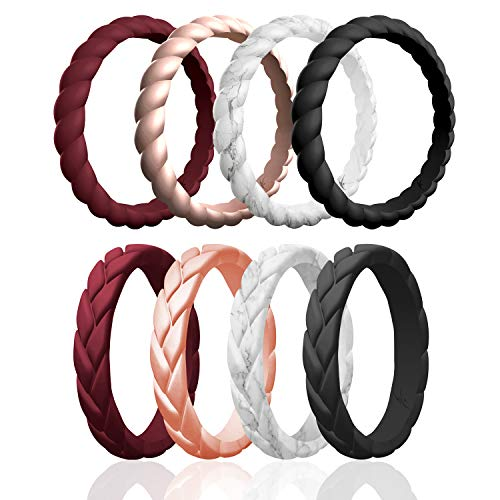 ROQ Silicone Wedding Ring For Women, Affordable Braided Stackable and Flame Leaves Silicone Rubber Wedding Bands - Medical Grade Silicone - Maroon, Rose Gold, Marble, Black Colors - Size 5