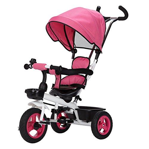 LICHUAN Sistema de viaje con mango desmontable con sombrilla para niños, pedal de triciclo, asiento giratorio, cochecito de bebé para niños (color: rosa)