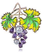 QSCVHU New ivid Frutta UVA Forma Spille Zircone Gioielli in Rame per Donna Spilla Pins Abbigliamento Nuziale Accessori Gonna