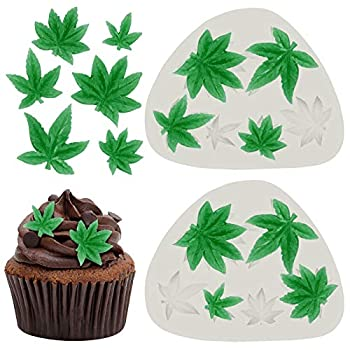 2 Pieces Weed Leaf Cake Fondant Mold Pot Leaves Silicone Mold for Weed Leaf Theme Cake Decoration Chocolate Candy Polymer Clay Cookie Sugar Craft  Gray