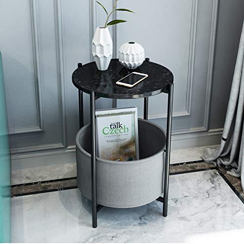 ZCPDP Marmor Couchtisch Haushalt Kleine Wohnung Runde Schmiedeeisen Beistelltisch Wohnzimmer Schlafzimmer Mini Teetisch 60 * 45CM