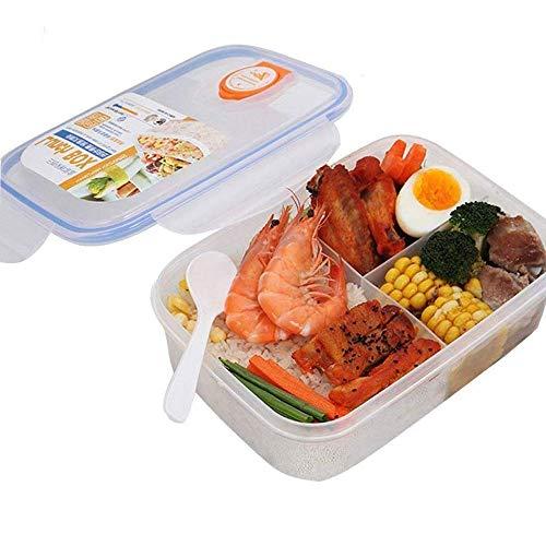 WFCQNB Caja de almuerzo bento y ecológico, contenedor de preparación de comidas con aislamiento de 3 compartimentos y a prueba de fugas, reutilizable para hombres, mujeres, adultos y niños con cuchara