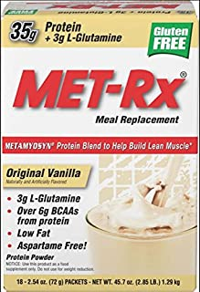 MET-Rx Original Whey Protein Powder, Great for Meal Replacement Shakes, Low Carb, Gluten Free, Original Vanilla, 2.54 oz. Packets, 18 Count