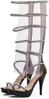 f0aa38979e9e8b Gladiateur Genou Haut Cool Bottes Femmes 11 CM Stiletto Bout Ouvert Creux  Strass Zipper Robe Bottes