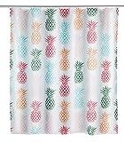 WENKO Duschvorhang Ananas - Textil , waschbar, wasserabweisend, mit 12 Duschvorhangringen, Polyester, 180 x 200 cm, Mehrfarbig