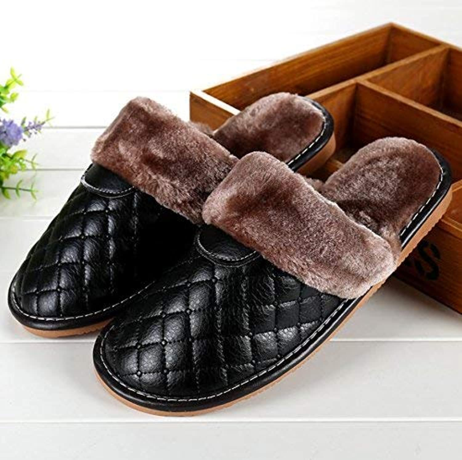 JaHGDU Men's Faux-Leather Slippers in Autumn and Winter Slippers Home Interior Keep Warm Brown Black Slippers