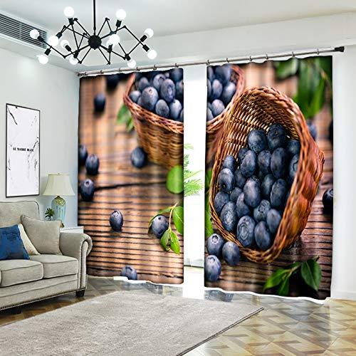 AmDxD 2 paneles de poliéster oscurecimiento cortinas para dormitorio, cesta de fruta, uvas, cortinas de cortinas de color azul, marrón, 200 cm de ancho x 200 cm de alto