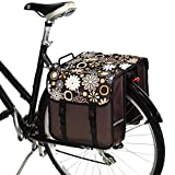 BikyBag Clásica - Doble Alforjas para Bicicletas (Margarita Flores Marrones)