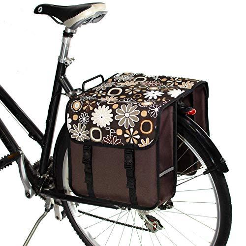 BikyBag Classico - Borse Doppio Portapacchi Bici da Ciclismo (Fiori Margherita Marrone)