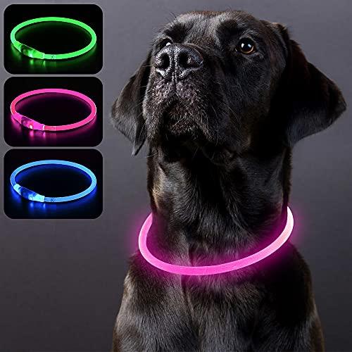 PZRLit Collar Luminoso Perro Recargable, Collar Luz Perros Impermeable, Collar LED Perro para Perros Pequeños Cachorro, Medianos y Grandes, Collar Reflectante Perro de Seguridad-Rosa