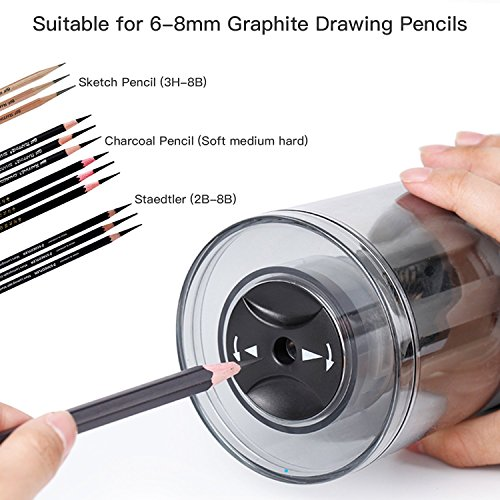 AFMAT Long Point Pencil Sharpener, Drawing Pencils Sharpener, Pencil Sharpener Electric, 6-8.5mm Charcoal Pencil Sharpener for Sketching Pencils/Drawing Pencils, 25mm Super Long Tip Photo #4
